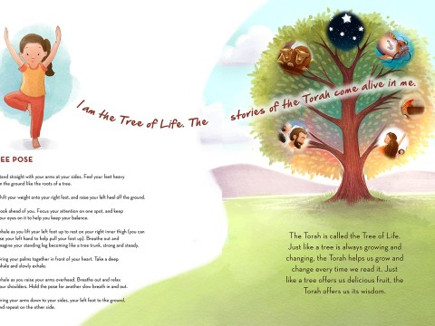 "the tree pose page of ""I Am The Tree of Life"": a white girl stand in tree pose next to a tree sprinkled with images from biblical stories and the text: ""I am the Tree of Life. The Stories of the Torah come alive in me."""