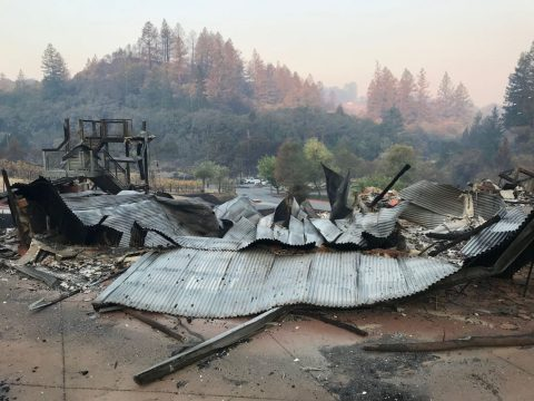 Rubble after a wildfire at Camp Newman