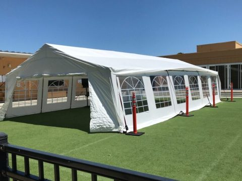 A tent that Ronald C. Wornick Jewish Day School set up for outside classes, July 2020. (Photo/Adam Eilath)