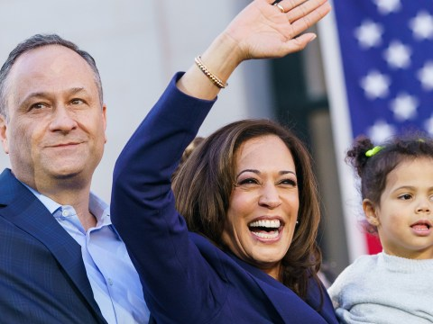 Sen. Kamala Harris waves to supporters with her husband, Douglas Emhoff, and her niece, Amara Ajagu, 2, during her presidential campaign launch rally in Oakland, Jan. 27, 2019. (Photo/JTA-Mason Trinca-Getty Images)
