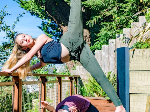 Sisters Alyssa and Olivia Mitchel work out in the garden of their parents' Cole Valley home. (Photo/Kyle Adler Photography)