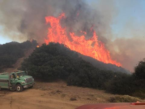 Fire near Vacaville, Aug. 15, 2020. (Photo/Courtesy Vacaville Fire Department)