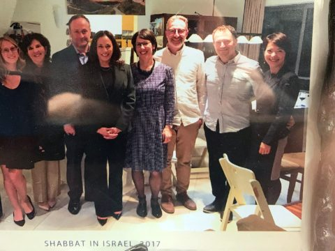 Anita Friedman (second from left) hosted a Shabbat dinner in Israel in 2017 for Sen. Kamala Harris (fourth from left) and her husband, Doug Emhoff (third from left). (Photo/Courtesy Friedman)