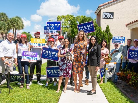 Lara Trump (front center) campaigning with Laura Loomer (right), Sept. 2020. (Photo/JTA-Twitter)
