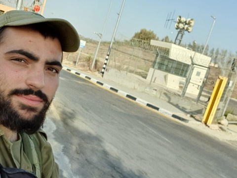 Marcy Oster's son takes a selfie on guard duty near the Israel-Gaza border. (Photo/JTA-Courtesy Oster)