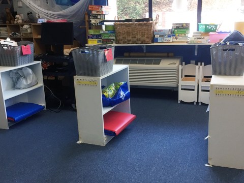 Socially distanced cubbies in a transitional kindergarten classroom at Oakland Hebrew Day School. (Photo/Courtesy OHDS)