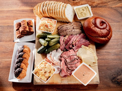 "Mark 'n Mike's ""Big Fresser"" platter includes four types of meat, Swiss cheese, bread, sides, dressings and dessert. (Photo/Hardy Wilson)"