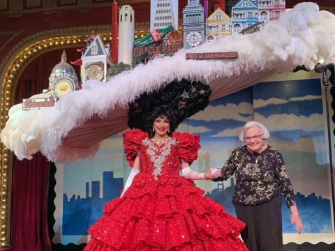 Hilda Richards was invited onstage during a performance of Beach Blanket Babylon to which she was invited for a birthday celebration.