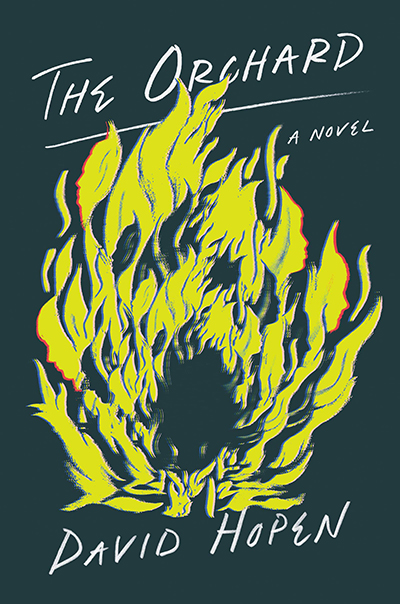 "cover of ""The Orchard"" by David Hopen: a dark blue background with an illustration of yellow flames"