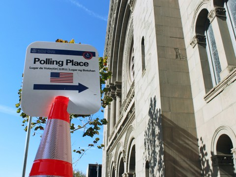 Congregation Sherith Israel in San Francisco served as a polling place for the 2020 presidential election, Nov. 3, 2020. (Photo/Gabriel Greschler)