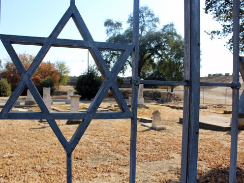 The Hebrew Cemetery in Marysville takes up a corner of the city cemetery, located right off Highway 70. The gate is originally from a Jewish cemetery in San Francisco. (Photo/Gabriel Greschler)