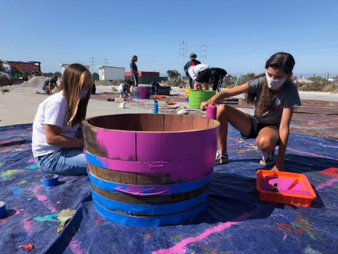 Camp Kee Tov, a Jewish day camp in Berkeley, helped out with the tiny house village over the summer of 2020. (Photo/Courtesy Camp Kee Tov)