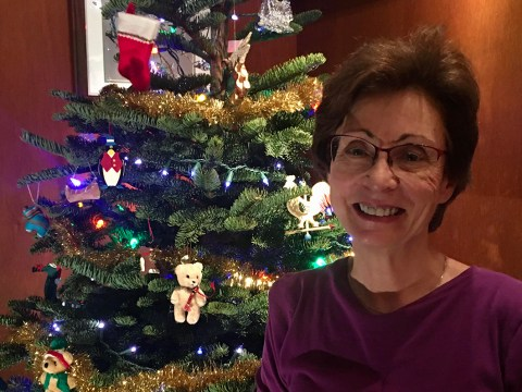 Mary Weinberg with her Christmas tree — the first one she's had in years.