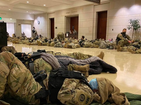 Soldiers sleeping on the floor of the U.S. Capitol building, Jan. 13, 2021. (Photo/JTA-Jordan Hersh)