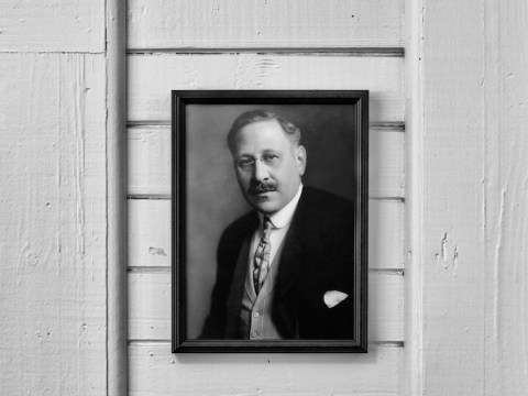 A portrait of Rosenwald hanging at the Noble Hill School in Georgia's Bartow County, another of the Rosenwald schools. (Photo/Andrew Feiler)
