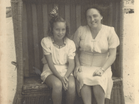 Edith Heine and her mother relaxing after the war.