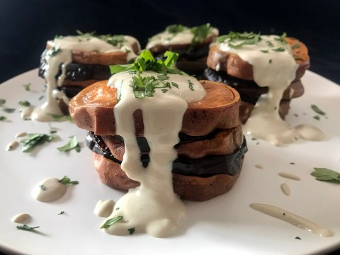 Roasted Eggplant-Sweet Potato Stacks with Tahini Sauce (Photo/Faith Kramer)
