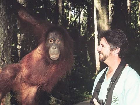 Norman Gershenz at the Sepilok Orangutan Rehabilitation Center in Malaysia.