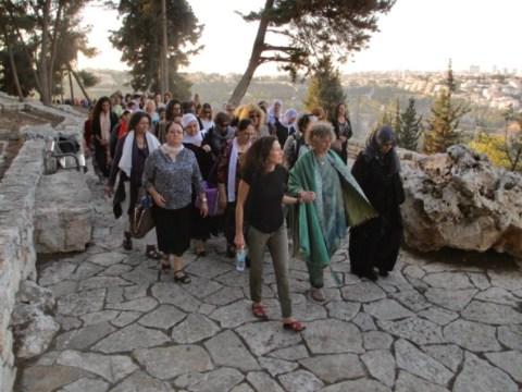 Anna Halprin leading a procession on the Jerusalem promenade designed by her husband, Lawrence. (Photo/Sue Heinemann)