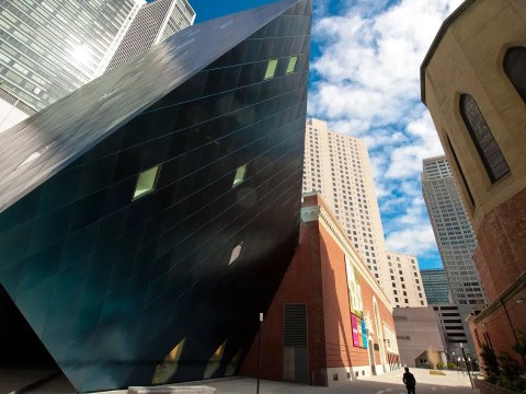 Contemporary Jewish Museum: An angular, modern annex designed by Daniel Libeskind joins the older brick building. (Photo/Courtesy CJM