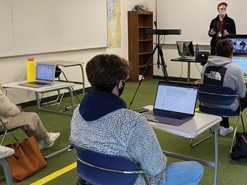Yosef Rosen teaching a senior seminar, Issues in Jewish Thought, at Jewish Community High School of the Bay in San Francisco. (Photo/Courtesy JCHS)