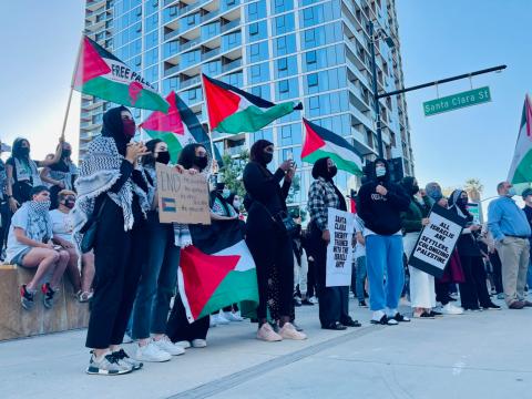 A pro-Palestinian rally at San Jose's City Hall, May 12, 2021. (Photo/Luke Johnson)