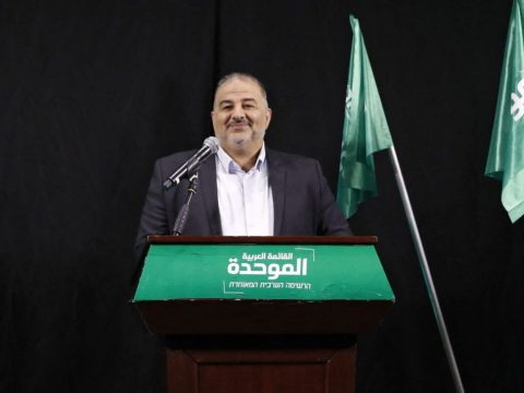 Mansour Abbas, head of Israel's Islamic Raam party, speaks during a press conference in the northern city of Nazareth, April 1, 2021. (Photo/JTA-Ahmad Gharabli-AFP via Getty Images)