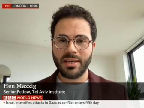 Hen Mazzig, an aggressive pro-Israel activist, speaks on the BBC during the recent fighting in Israel and Gaza.