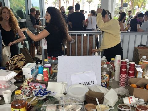 A kosher food table was set up at the family reunification center at the Surfside Community Center, June 25, 2021. (Photo/JTA-Ron Kampeas)