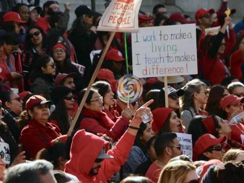 Members of the Los Angeles teachers' union celebrate the end of a strike, Jan. 22, 2019. (Photo/Wikimedia-Mike Chickey)