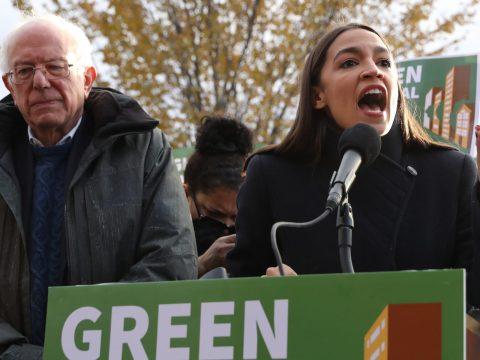 Sen. Bernie Sanders and Rep. Alexandria Ocasio-Cortez hold a news conference in Washington, D.C., Nov. 14, 2019. (Photo/JTA-Chip Somodevilla-Getty Images)