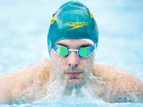 Matthew Levy competes in the qualifying for the men's 100m breaststroke at the Caixa Loterias 2014 Paralympics Swimming competition at the Hebraica Club in Sao Paulo, Brazil, April 24, 2014. (Photo/JTA-Alexandre Schneider -Getty Images)