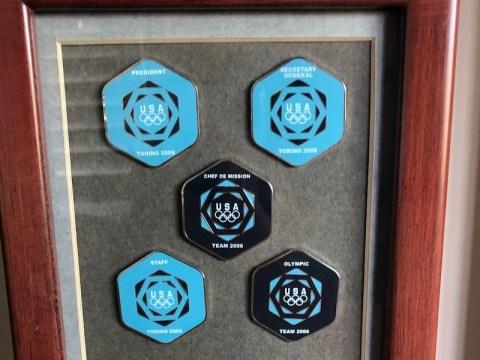 Pins from the Torino Olympics in 2006. (Photo/JTA-Courtesy Marantz)