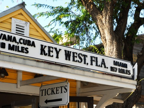 Key West, Florida, is closer to Havana, Cuba, than to Miami, as is apparent on this storefront in Mallory Square. (Photo/Larry Luxner)