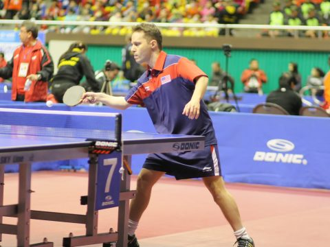 Israeli-born table tennis player Tahl Leibovitz competes for the U.S. team at the 2012 Paralympic Games in London. (Photo/JTA-Gaël Marziou)