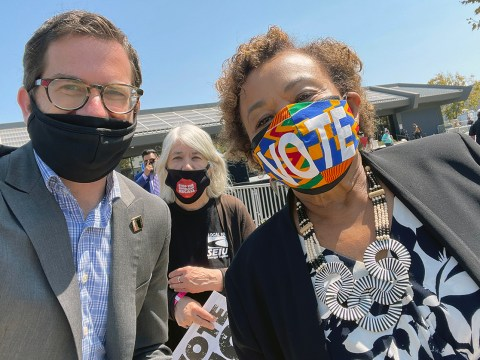 Igor Tregub and Rep. Barbara Lee last week at a rally with Vice President Kamala Harris. (Photo/Courtesy Igor Tregub)