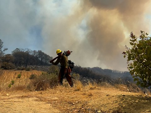 Nathan Berro Krugman, a U.S. Forest Service forest technician, helped fight the Caldor Fire, Aug. 15-29.