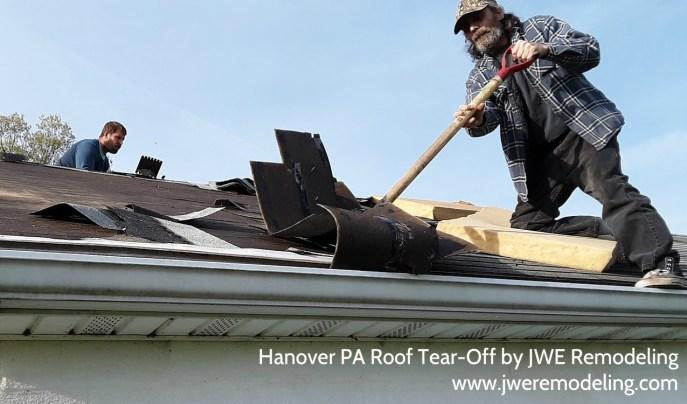 Hanover PA 17331 roofing project tear-off job picture by JWE remodeling and roofing contractor