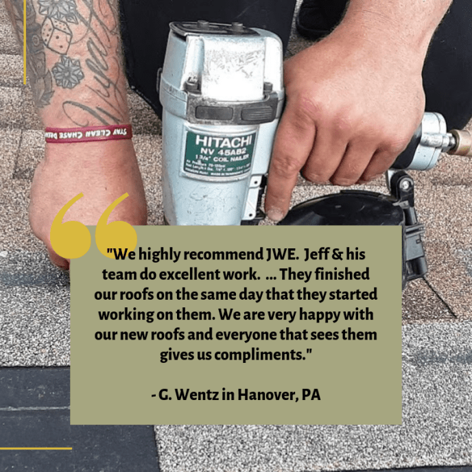 Hanover PA Roof Replacement by JWE Remodeling and Roofing Contractor 17331 5-Star Customer Review