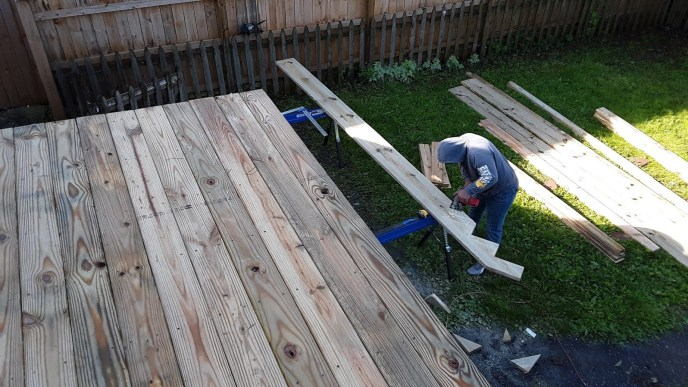 Construction of exterior deck and staircase stringers in Manchester MD remodel