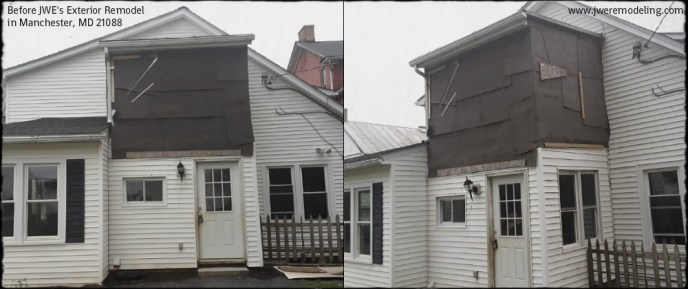The exterior of this Manchester, MD home before demolition and remodeling by JWE.