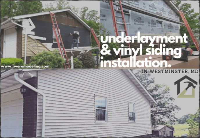 Hanover PA Siding Contractor JWE Remodeling and Roofing installs new siding underlayment and vinyl siding in Westminster MD 21158