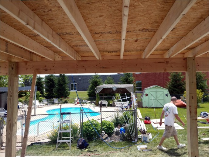 Covered Concrete Backyard Patio with Flat Roof in Dover, PA 17315