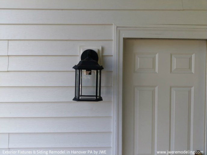 Lighting fixture installed in exterior siding remodel in Hanover PA 17331
