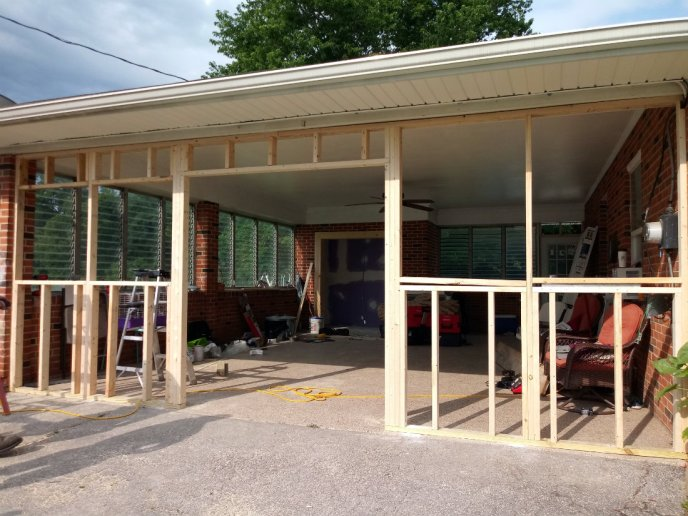 Rough openings for double-french doors and windows in the new garage addition in Hanover PA