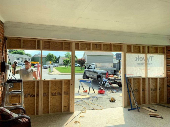 View from the inside shows the new wall in this Hanover PA garage addition