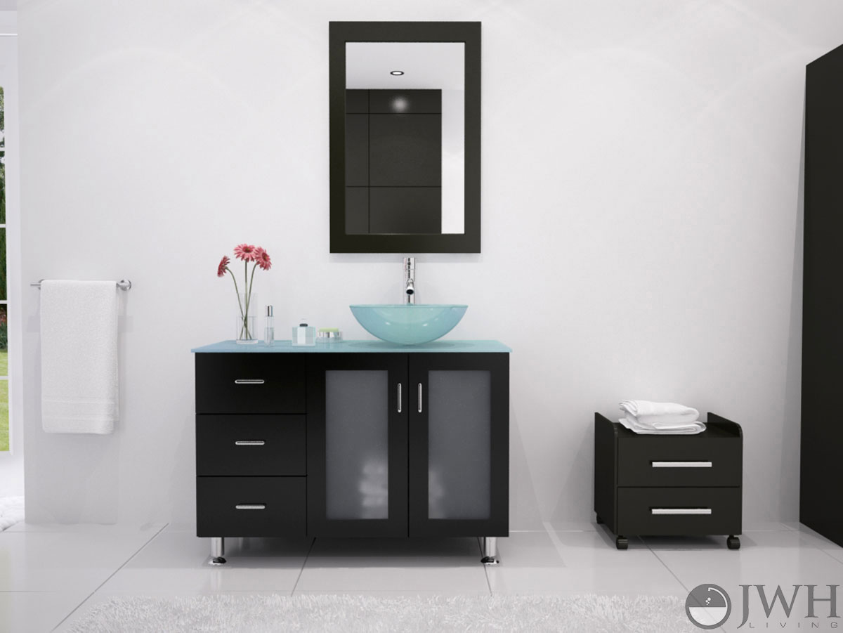 Jwh Living Furniture By Category Shop By Size 39 Inch Bathroom Vanities 39 Quot Lune Single Vessel Sink Vanity Glass Vessel