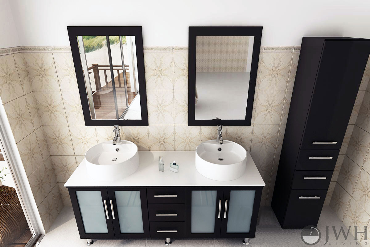 JWH Living  59 Lune Double Sink Vanity  Glass Top