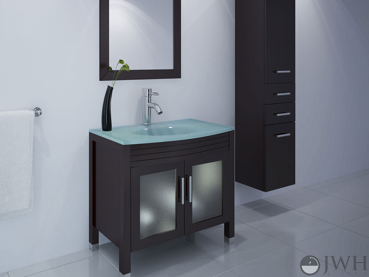 JWH Living  355 Ludwig Single Bath Vanity  Glass Top