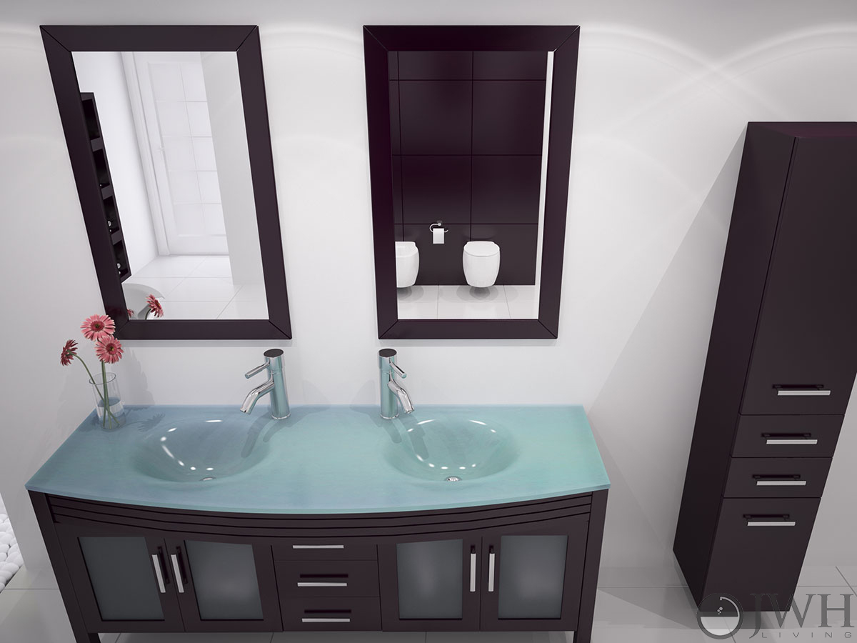 JWH Living  63 Grand Regent Double Sink Vanity  Glass Top